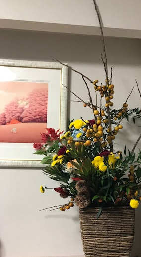 中島医院玄関の花11月16日