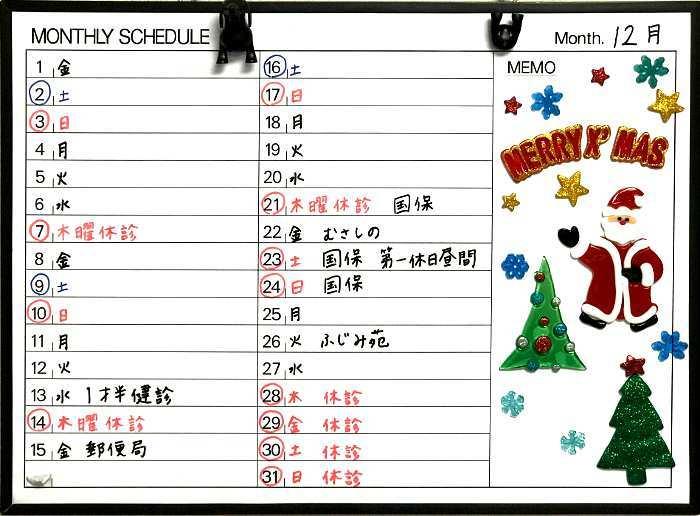 平成29年12月の予定表